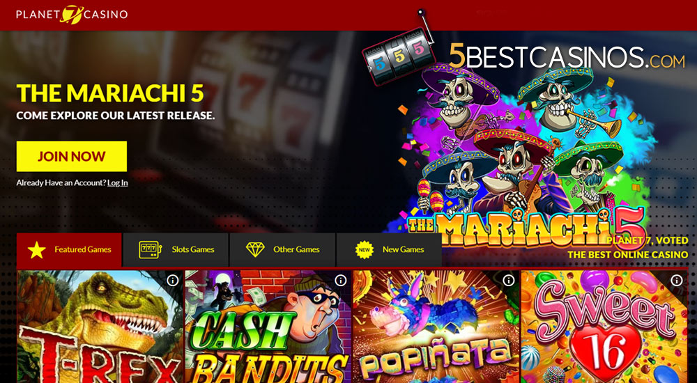 7 planet casino homepage screenshot