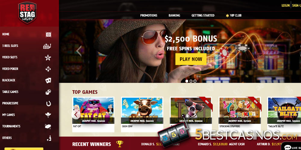 red stag online casino home screen bonus and top games