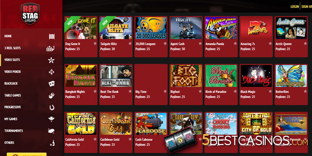 red stag online casino slot game selection