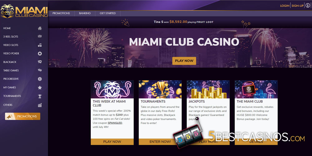 Miami Club Casino Home Screen Bonus Offers
