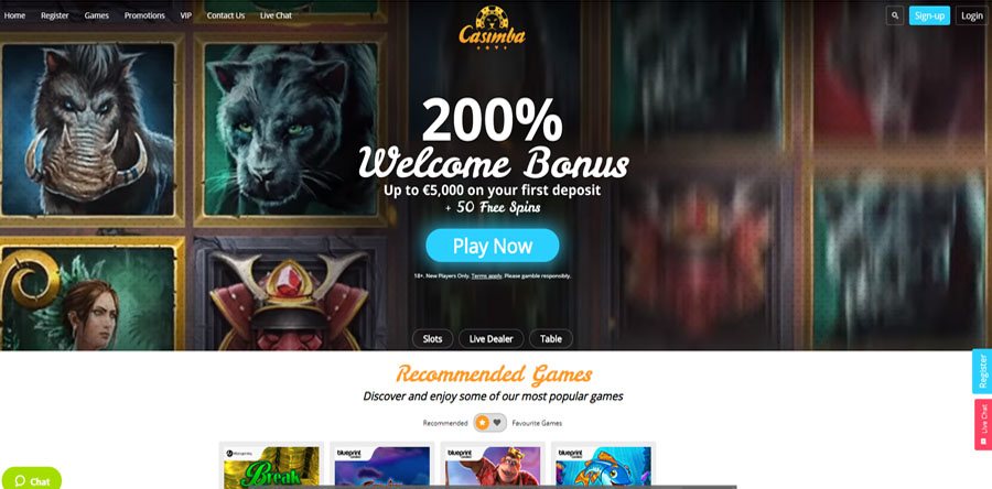 Casimba welcome bonus 200% up to 5K first deposit 50 free spins