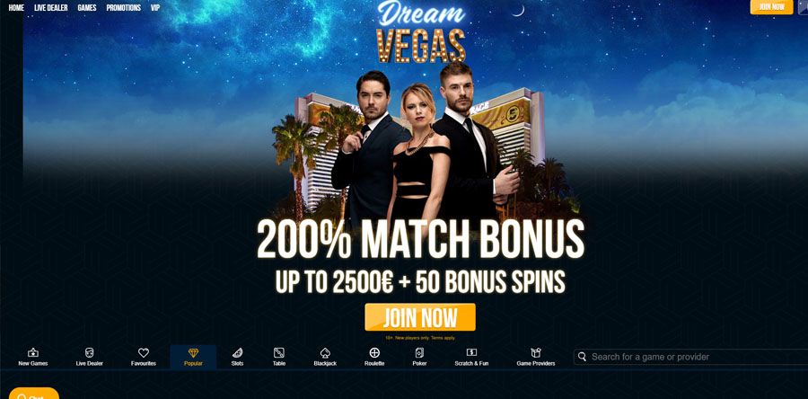 Dream Vegas Welcome Bonus Homepage
